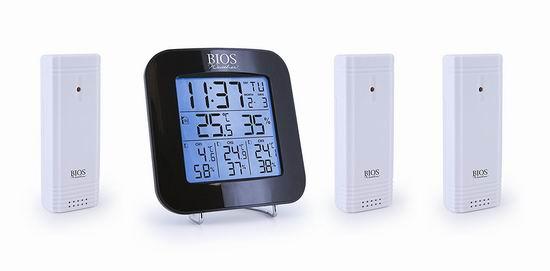 历史最低价!Bios Thermor 室内/室外 温度/湿度计5.2折 32.97加元!配送3个传感器!