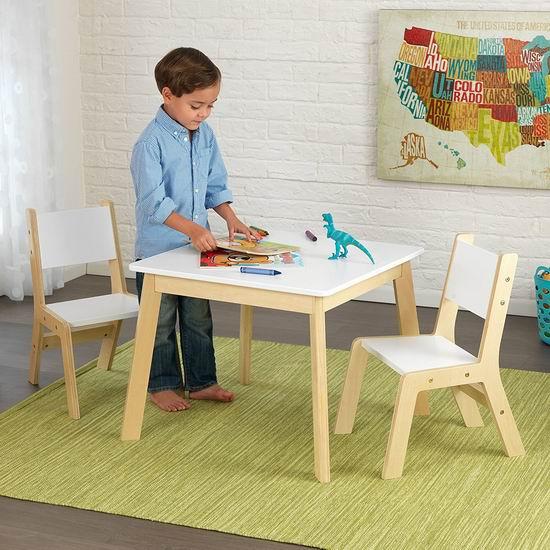 手慢无!历史最低价!KidKraft 时尚儿童木质桌椅3件套3折 49.99加元包邮!