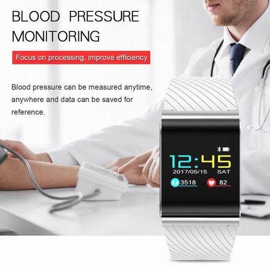 超级白菜!Diggro DB-01 0.96英寸OLED触控屏 心率血压监测 蓝牙智能手表1.4折 9.99加元清仓!