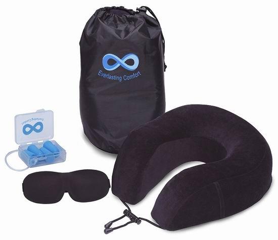 Everlasting Comfort 100%纯记忆海绵护颈枕 25.95加元限量特卖!送眼罩+耳塞+便携包!