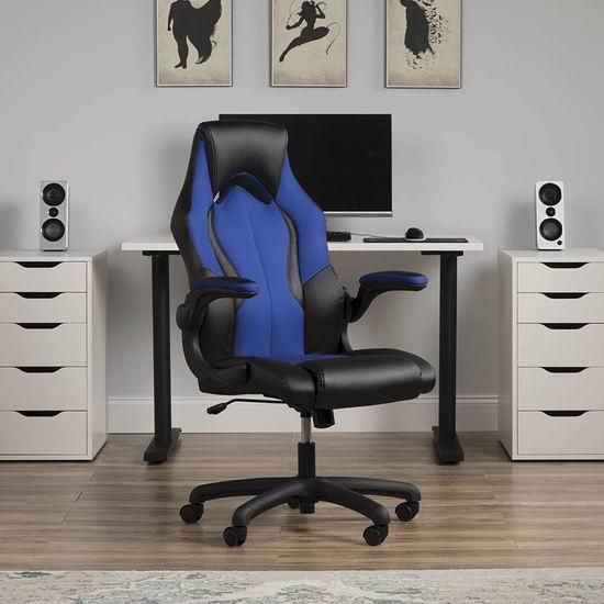 手慢无!Essentials by OFM 赛车风格高靠背 蓝色真皮旋转办公椅3.7折 107.32加元包邮!