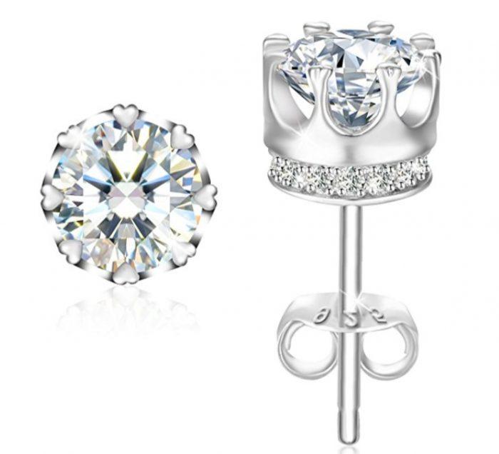 """J.Rosée 纯银锆石""""公主皇冠""""水晶耳钉 14.99加元,原价 28.99加元"""