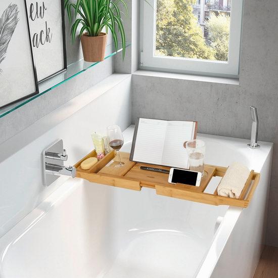 泡澡也能享受游览网路世界!HOMFA Bamboo竹制泡澡浴缸桌架 33.99加元限量特卖并包邮!
