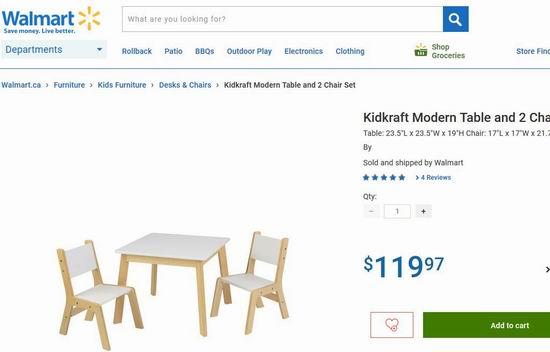 手慢无!历史新低!KidKraft 时尚儿童木质桌椅3.1件套 34.39加元清仓!walmart同款价119.97加元
