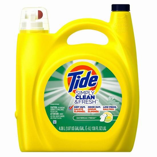 销量冠军!Tide 汰渍 Simply 洗衣液(4.08升 89缸) 8.52-8.97加元!2款可选!