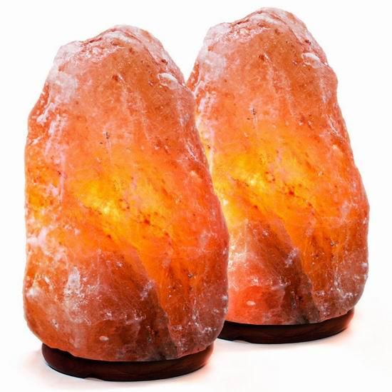 Amethya 天然喜马拉雅 负离子 水晶盐灯2件套(5-7英寸) 28.85加元限量特卖!