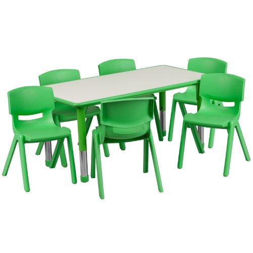 历史新低!Flash Furniture 高度可调 儿童长方形活动桌椅7件套3.9折 170.99加元包邮!