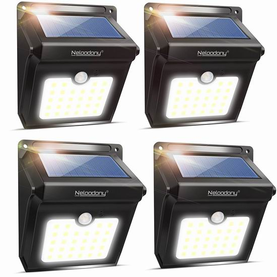 Neloodony 28 LEDs 超亮 太阳能 运动感应灯4件套 26.99加元限量特卖并包邮!