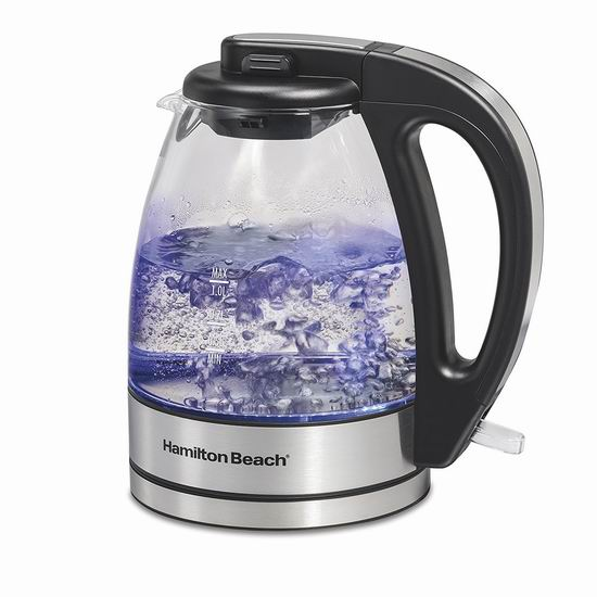 Hamilton-Beach 40930C 1升 蓝光玻璃 电热水壶 7.9折 34.99加元!