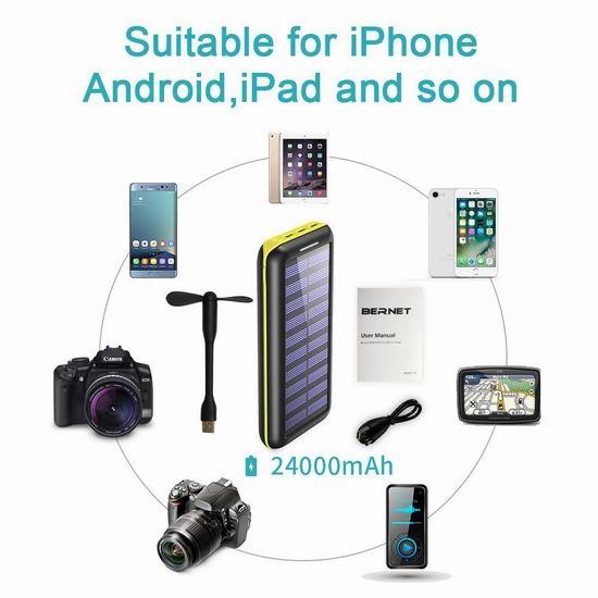 BERNET 24000mAh 大容量太阳能充电宝 31.99加元限量特卖并包邮!送USB迷你风扇!