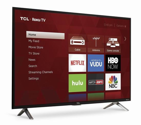 历史新低!TCL 40S305 40英寸 1080p Roku LED高清智能电视 329.99加元包邮!