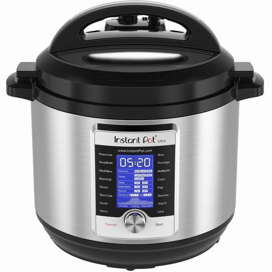 Instant Pot Ultra 8夸脱超大容量 10合一 超智能电压力锅 158.93加元包邮!