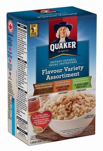 历史新低!Instant Quaker Oats 三口味混装 速溶即食 早餐营养燕麦片超值装(6 x 380g) 11.94加元!