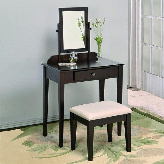 历史新低!Crown Mark Iris 梳妆台桌椅套装 124.95加元包邮!