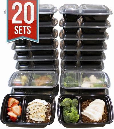Misc Home 3格塑料保鲜饭盒 20套装 19.46加元限量特卖,原价 52加元