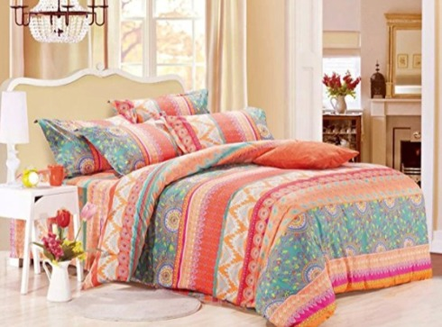 Linen & Cotton queen波西米亚印花床上用品3件套 46.99加元,原价 89.99加元,包邮