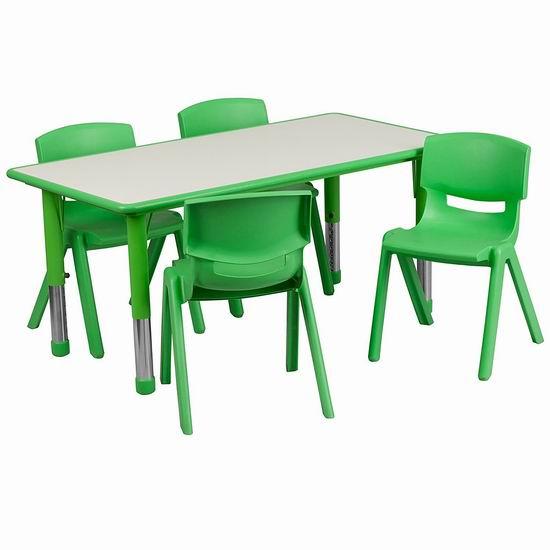 历史新低!Flash Furniture 高度可调 绿色儿童活动桌椅5件套3.7折 137.99加元包邮!