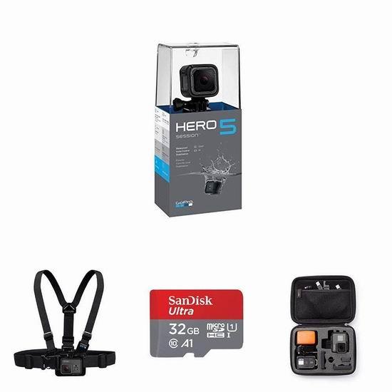 历史新低!GoPro HERO5 Session 4K 超高清运动摄像机+胸部固定带+32GB闪存卡+便携盒 239.99加元包邮!会员专享!