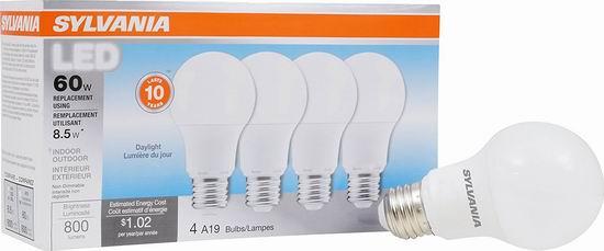 历史新低!Sylvania A19 60瓦等效 日光色 LED节能灯4件套3折 6加元!
