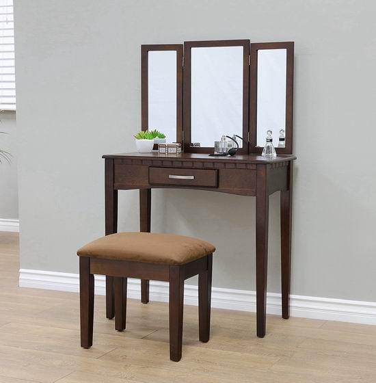 近史低价!Frenchi Home Furnishing 实木梳妆台桌椅2件套4.5折 141.62加元包邮!会员专享!