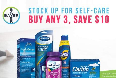 精选 Bayer 德国拜耳 保健品、个人护理产品、防晒霜、眼药水、药品等特价销售,任购三款,额外立省10加元!