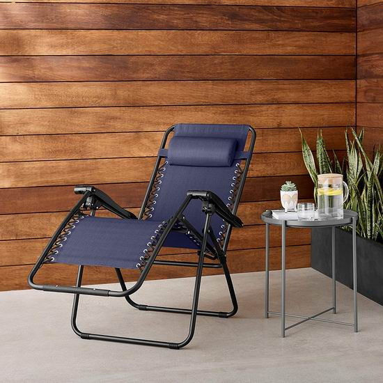 午休神器!AmazonBasics 蓝色 零重力躺椅 66.88加元包邮!