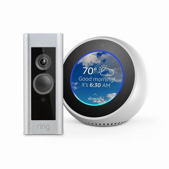 历史新低!Ring Pro 第二代智能门铃 + Echo Spot 智能音箱超值装 339.98加元包邮!两色可选!
