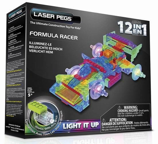 历史新低!Laser Pegs PB2160B 12合一 发光方程式赛车3.3折 18.36加元清仓!