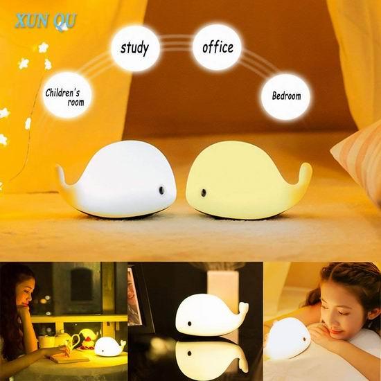 历史新低!XUNQU LED 创意硅胶小鲸鱼 感应彩色夜灯5.7折 12.98加元!