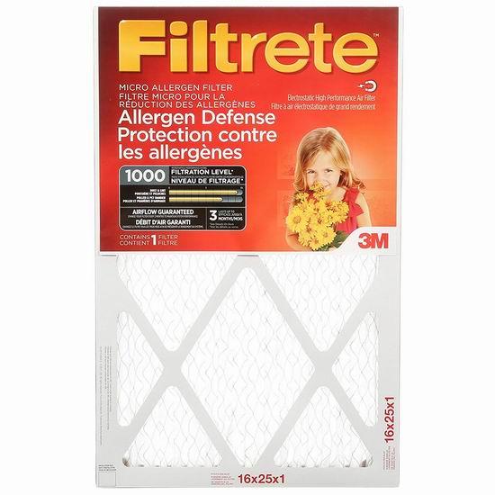 金盒头条:Filtrete 1000 MPR 防过敏家庭空调暖气炉过滤网(6个装 16x25x1英寸) 64.4加元包邮!