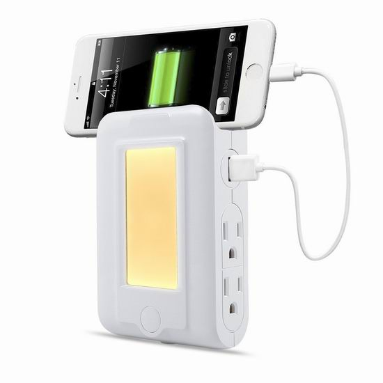 手慢无!TryLight 四合一 LED光感应夜灯+2 USB充电+4口插座 13.59加元限量特卖!