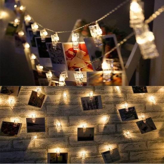 白菜价!历史新低!Zhen Qi 4.8米 浪漫照片墙装饰灯/照片夹3.7折 8.49加元清仓!