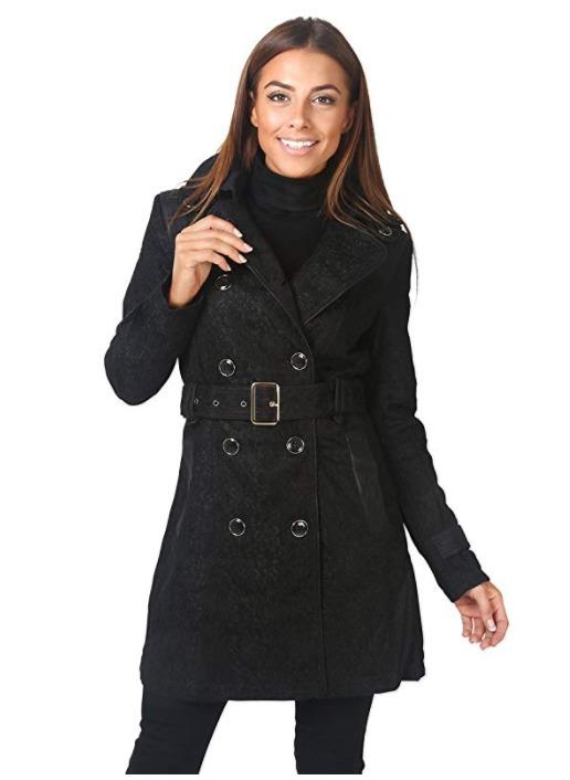 白菜速抢!KRISP 女式黑色蕾丝 双排扣风衣1.8折 10加元清仓!
