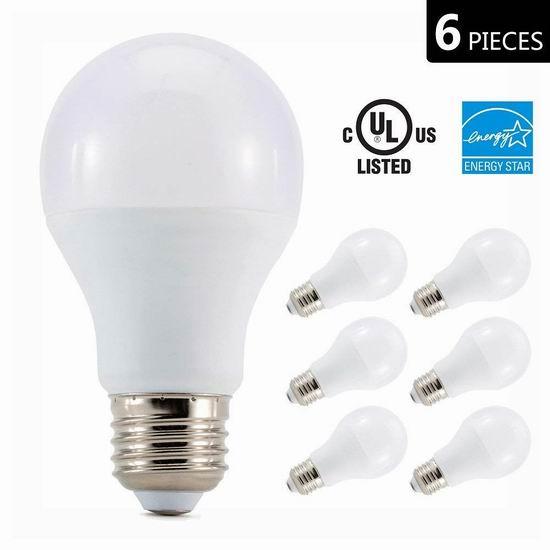 历史新低!Otronics 65瓦等效 A19 LED节能灯6件套5.3折 9.99加元清仓!2款可选!
