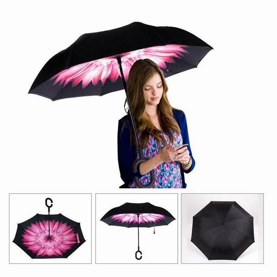 历史新低!SimplyWorks 双层抗风 防紫外线 创意雨伞/倒伞4折 11.88加元清仓!多色可选!