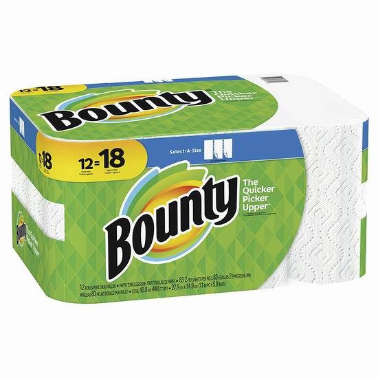 Bounty select-a-size 双层厨房用纸12卷 18加元!