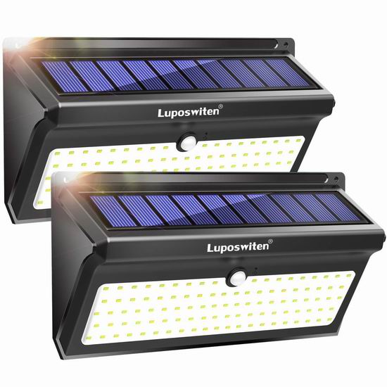 Luposwiten 100 LED 2000流明 超亮 太阳能运动感应灯2件套 31.99加元限量特卖并包邮!