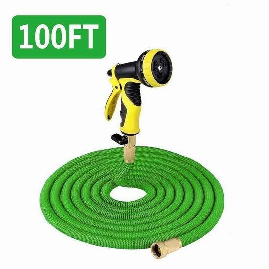 Gpeng 50英尺/100英尺 花园浇水 弹性伸缩水管 21.49-35.99加元限量特卖并包邮!附送喷头!