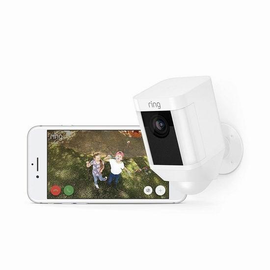 Ring Spotlight Cam 双向语音/警笛 家庭安防摄像头 199加元包邮!2色可选!