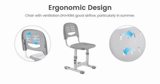 历史新低!PrimeCables 可调高度 人体工学 儿童(3-14岁)书桌+椅子套装5.5折 71.99加元包邮!
