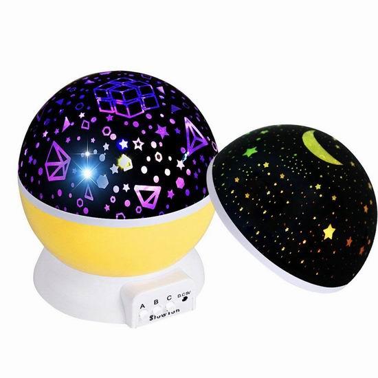 白菜价!历史新低!SlowTon Starry 二合一 旋转星空灯投影灯/夜灯 8.99加元清仓!