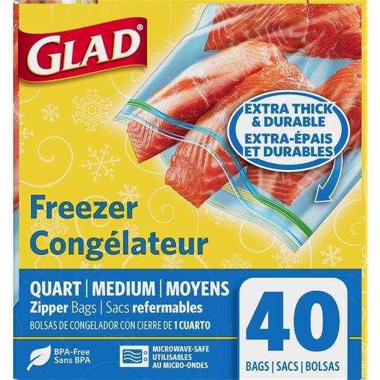 白菜价!历史新低!Glad 中号加厚 可冷冻食物保鲜袋(40只)1.4折 1.9加元!