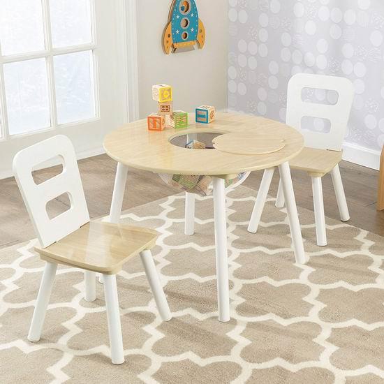 历史最低价!KidKraft 自然木纹 儿童桌椅3件套4.9折 59.99加元包邮!