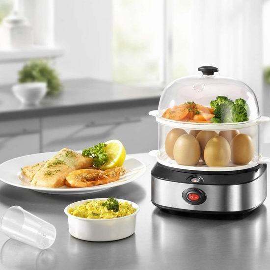 PowerDoF ZDQ-702A 多用途大容量双层 蒸菜/蒸虾/蒸饺/蒸包子馒头/煮蛋器 22.49加元限量特卖!