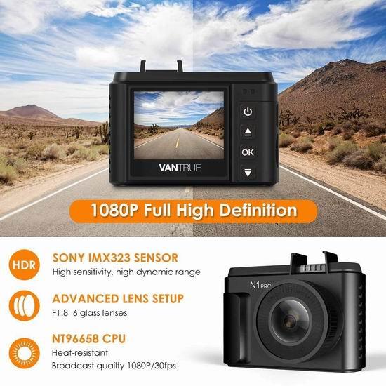 Vantrue N1 Pro 1080P 全高清超广角夜视行车记录仪 79.99加元包邮!