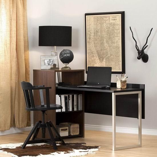历史新低!South Shore Furniture Tasko 书柜+电脑桌组合4.7折 129.97加元包邮!