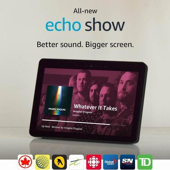 历史新低!亚马逊 Echo Show 第二代 智能音箱 买一送一,变相5折 149.99加元!两色可选!