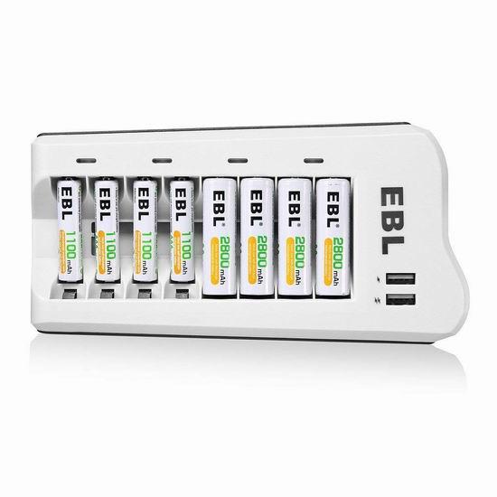 升级版 EBL 8通道电池充电器+8只AA/AAA镍氢充电电池套装 28.88加元限量特卖!内置2个USB充电口!