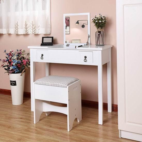 SONGMICS 二合一 白色梳妆台/电脑桌桌椅2件套 152.99加元限量特卖并包邮!