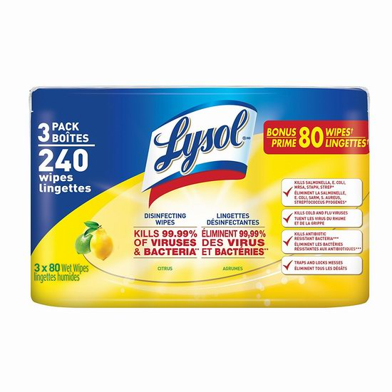 Lysol 来苏尔 柑橘味 消毒湿巾3筒超值装(240抽) 10.92加元!